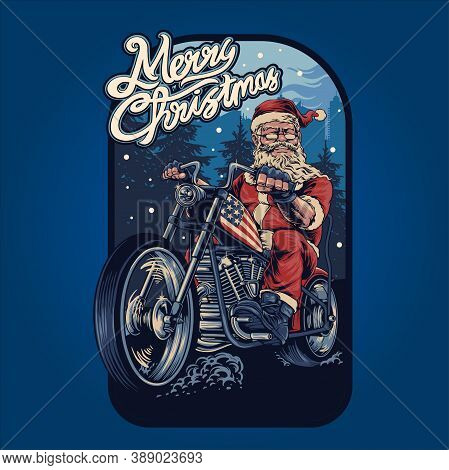 Merry Christmas  Santa Claus Bikers Harley Illustrations With Background For Your Work Merchandise A
