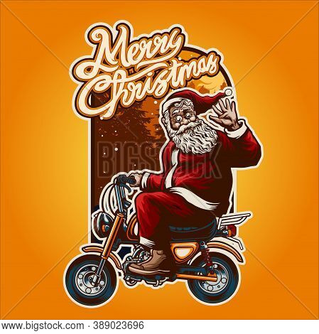 Merry Christmas  Smiley Santa Claus Bikers Riding Illustrations With Background For Your Work Mercha
