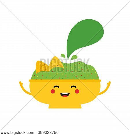 Cute Cartoon Style Mexican Guacamole Dip, Sauce Bowls Character With Speech Bubble, Talking, Giving