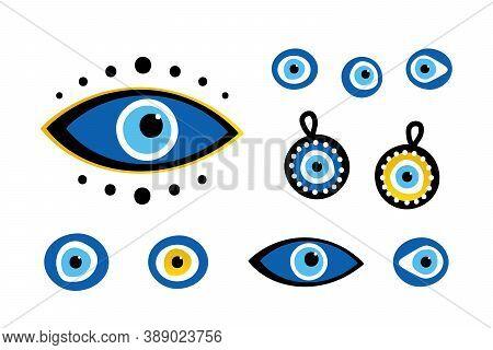 Set, Collection Of Turkish Blue Eye-shaped Amulets, Nazar Amulets, Evil Eyes Symbols. Protection Tal