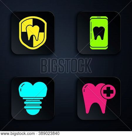 Set Tooth, Dental Protection, Dental Implant And Online Dental Care. Black Square Button. Vector