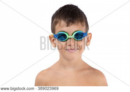 Studio Shot Of Happy Boy With Swimming Goggles, Isolated On White