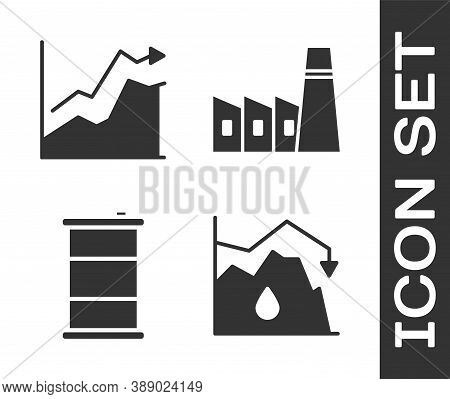 Set Drop In Crude Oil Price, Oil Price Increase, Barrel Oil And Oil Industrial Factory Building Icon