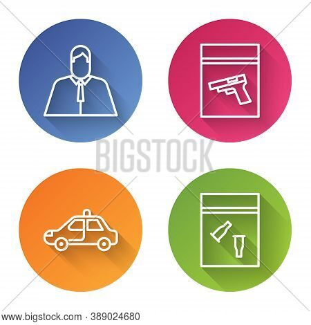 Set Line Lawyer, Attorney, Jurist, Evidence Bag And Pistol Or Gun, Police Car And Flasher And Eviden