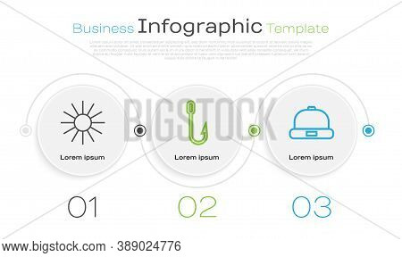 Set Line Sun, Fishing Hook And Beanie Hat. Business Infographic Template. Vector