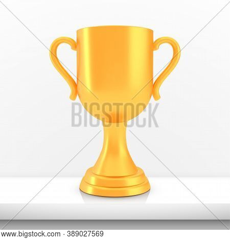 Winner Cup Award, Golden Trophy Logo Isolated On White Shelf Table Background, Photo Realistic Vecto