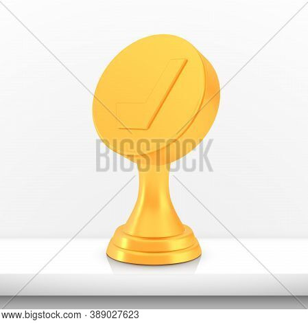 Winner Hockey Cup Award, Golden Trophy Logo Isolated On White Shelf Table Background, Photo Realisti