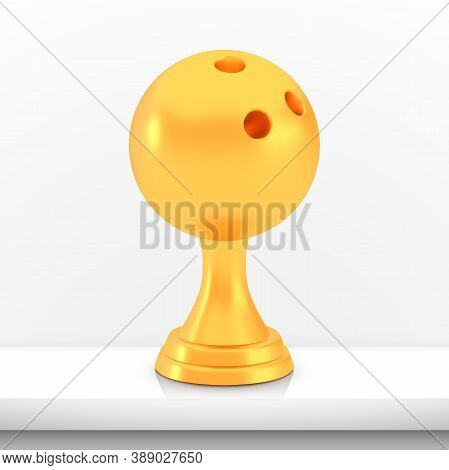 Winner Bowling Cup Award, Golden Trophy Logo Isolated On White Shelf Table Background, Photo Realist