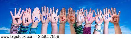 Children Hands Building Word Thanksgiving, Blue Sky