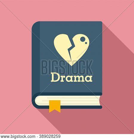 Drama Literary Genre Book Icon. Flat Illustration Of Drama Literary Genre Book Vector Icon For Web D