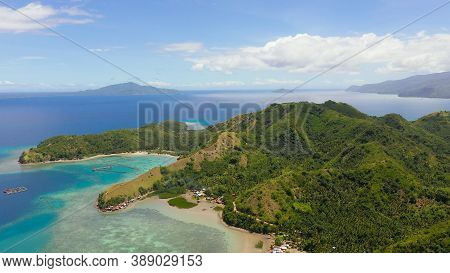 Famous Tourist Site: Sleeping Dinosaur Island Located On The Island Of Mindanao, Philippines. Aerial