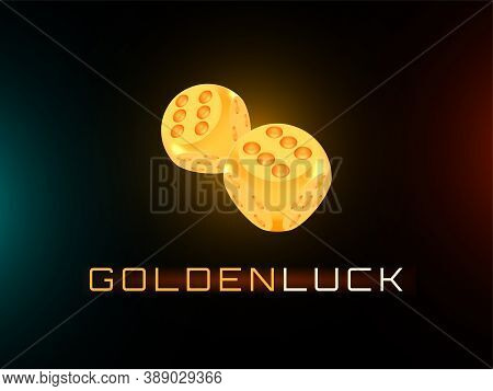 Golden Luck Award Craps Concept, Shiny Photo Realistic Metallic Two Rolling Dices, 3d Render With So