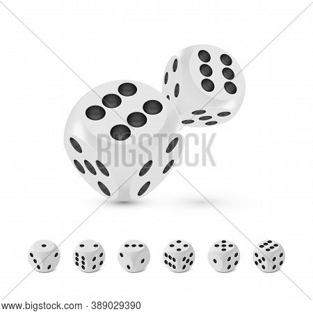 Good Luck Award Craps Concept, Shiny Photo Realistic Metallic Two Rolling Hanging Dices, Set Of Six