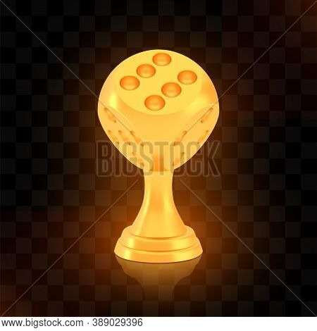 Winner Dice Cup Award, Golden Trophy Logo Isolated On Black Transparent Background, Photo Realistic