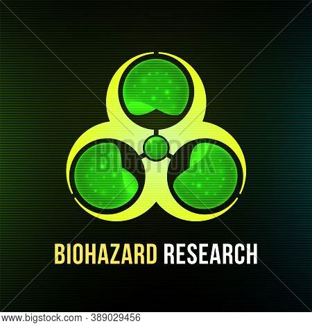 Biohazard Research Poster With Black Background, Dark Colorful Vector Design Illustration, Can Be Us