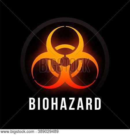 Biohazard Fire Color Poster With Black Background, Dark Colorful Vector Design Illustration, Can Be