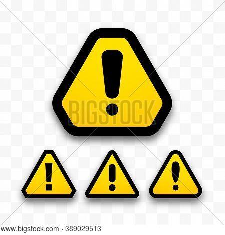 Set Of Hazard Warning Attention Sign, Danger Triangle Symbols Isolated On White Background, Hazardou