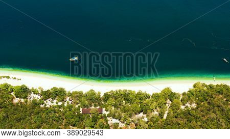 Tropical Island With Beautiful Beach And Turquoise Water View From Above. Great Santa Cruz Island. Z