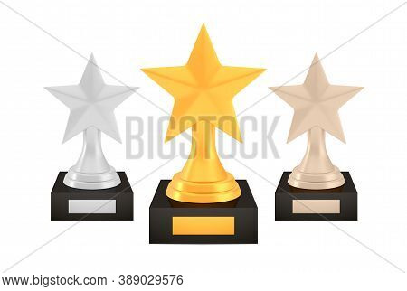 Winner Star Awards Set, Gold Silver Bronze Trophy Cups On Stands With Empty Plates, Three Logo Icons