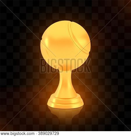 Winner Tennis Cup Award, Golden Trophy Logo Isolated On Black Transparent Background, Photo Realisti
