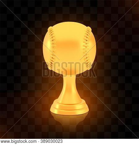 Winner Baseball Cup Award, Golden Trophy Logo Isolated On Black Transparent Background, Photo Realis