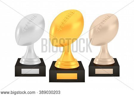 Winner American Football Awards Set, Gold Silver Bronze Trophy Cups On Stands With Empty Plates, Thr