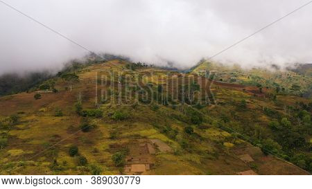 Farm And Agricultural Land With Crops In The Mountainous Area Of The Island Of Mindanao, Philippines