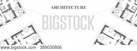 Architectural Background. Part Of Architectural Project, Architectural Plan Of A Residential Buildin