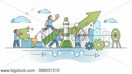 Strategic Planning Work With Smart Business Tactics Moves Outline Concept. Performance Improvement P