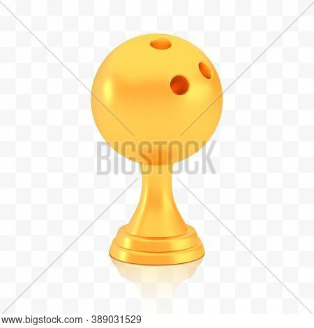 Winner Bowling Cup Award, Golden Trophy Logo Isolated On White Transparent Background, Photo Realist