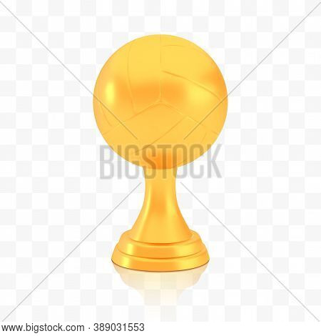 Winner Volleyball Cup Award, Golden Trophy Logo Isolated On White Transparent Background, Photo Real