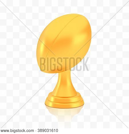 Winner Rugby Cup Award, Golden Trophy Logo Isolated On White Transparent Background, Photo Realistic
