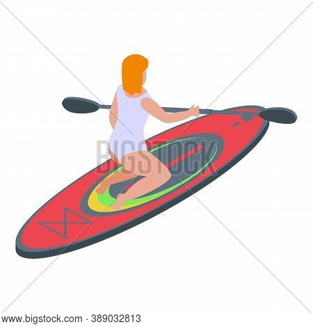 Paddle Surfing Icon. Isometric Of Paddle Surfing Vector Icon For Web Design Isolated On White Backgr