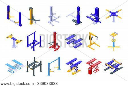 Car Lift Icons Set. Isometric Set Of Car Lift Vector Icons For Web Design Isolated On White Backgrou