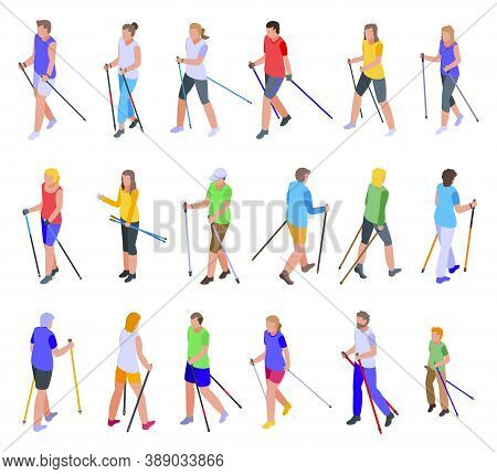 Nordic Walking Icons Set. Isometric Set Of Nordic Walking Vector Icons For Web Design Isolated On Wh
