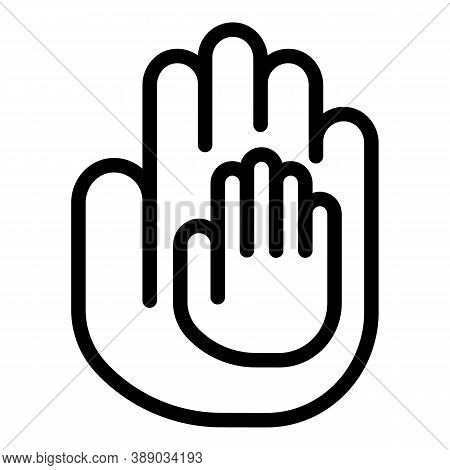 Hands Help Reliability Icon. Outline Hands Help Reliability Vector Icon For Web Design Isolated On W