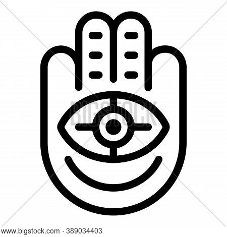Hand Eye Amulet Icon. Outline Hand Eye Amulet Vector Icon For Web Design Isolated On White Backgroun