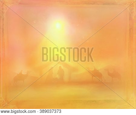 Birth Of Jesus In Bethlehem Abstract Card , Raster
