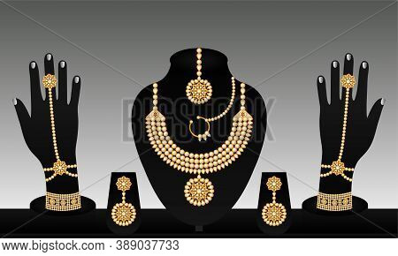 Indian Traditional Vector Gold And Pearl Bracelet Necklace Beautiful Earrings And Rings Jewellery Se