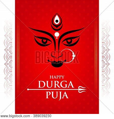 Illustration Of Goddess Durga Maa Face Or Mnemonic With Mandala Decoration On Red Background For Cel