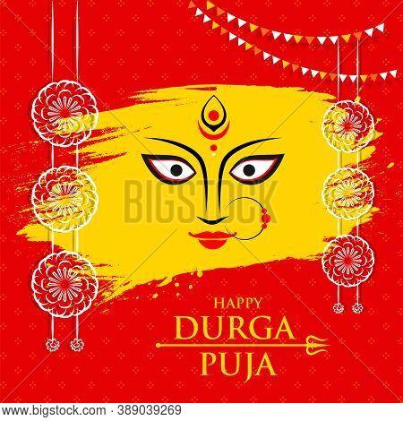 Creative Illustration Of Goddess Durga Maa Face Or Mnemonic For Celebration Of Indian Religious Fest