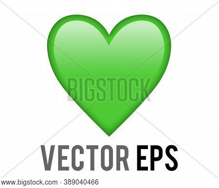 Vector Classic Love Green Glossy Heart Icon, Used For Expressions Of Love For Healthy Lifestyle