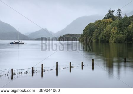 Beautiful Landscape Image Of Derwentwater In English Lake District During Late Summer Morning With S