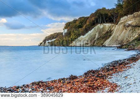 Chalk Cliffs In Jasmund National Park. Coastline On The Island Of Ruegen. Morning Mood With Calm Sea