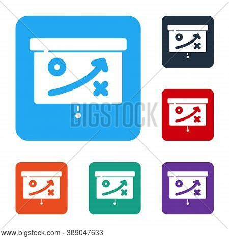 White Planning Strategy Concept Icon Isolated On White Background. Cup Formation And Tactic. Set Ico