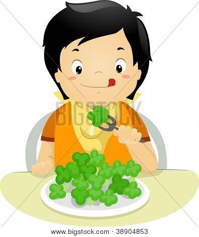 Illustration of a Boy Eating Brocolli