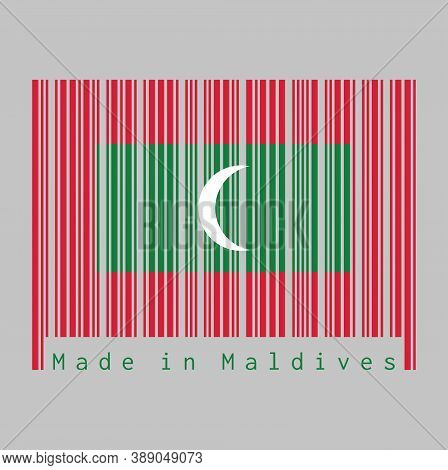 Barcode Set The Color Of Maldives Flag, Green With Red Border And White Crescent On Center. Text: Ma