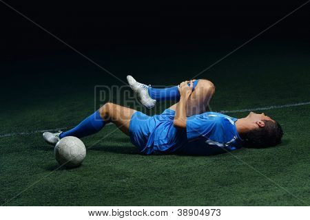 soccer player have pain injury accident on football game