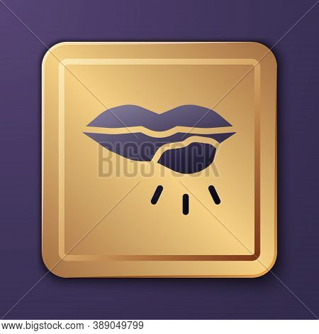 Purple Herpes Lip Icon Isolated On Purple Background. Herpes Simplex Virus. Labial Infection Inflamm