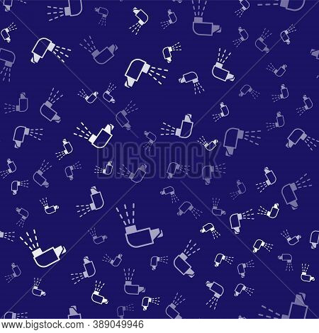 White Inhaler Icon Isolated Seamless Pattern On Blue Background. Breather For Cough Relief, Inhalati